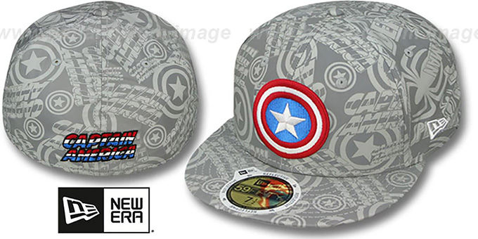 Captain America 'COMIC REFLECT' Fitted Hat by New Era : pictured without stickers that these products are shipped with