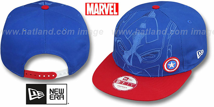 Captain America 'OVERFACE SNAPBACK' Royal-Red Hat by New Era : pictured without stickers that these products are shipped with