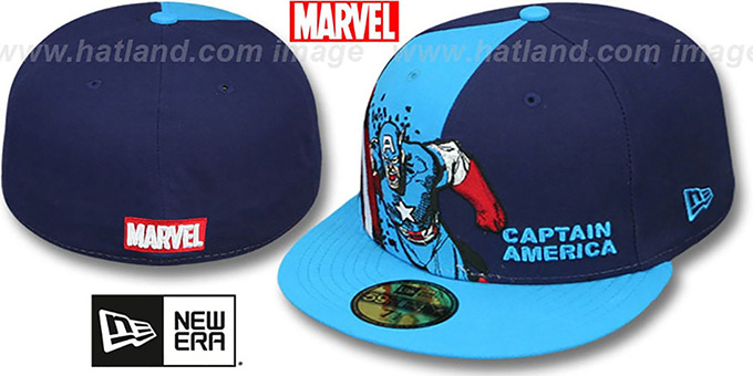Captain America 'PANEL-POP' Blue-Navy Fitted Hat by New Era : pictured without stickers that these products are shipped with