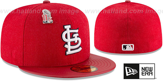 Cardinals 11X 'HEATHER-PIN' Red Fitted Hat by New Era : pictured without stickers that these products are shipped with