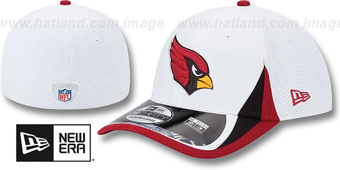 Cardinals '2013 NFL TRAINING FLEX' White Hat by New Era : pictured without stickers that these products are shipped with
