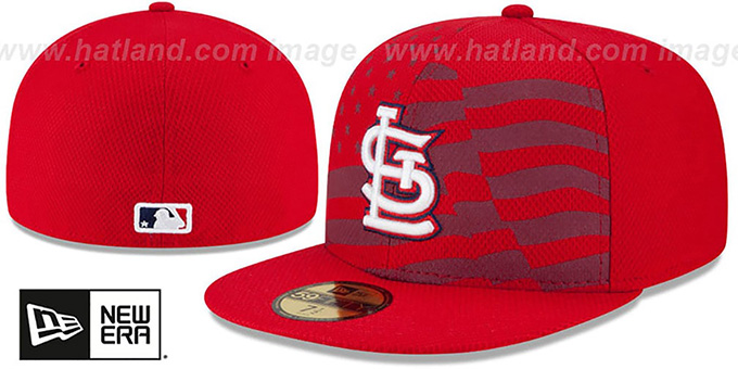 Cardinals '2015 JULY 4TH STARS N STRIPES' Hat by New Era : pictured without stickers that these products are shipped with
