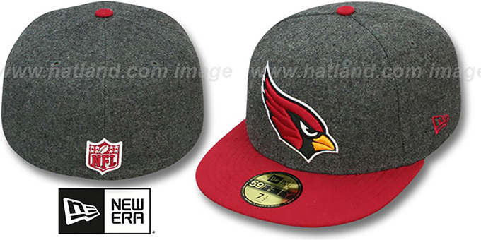 Cardinals '2T NFL MELTON-BASIC' Grey-Burgundy Fitted Hat by New Era : pictured without stickers that these products are shipped with