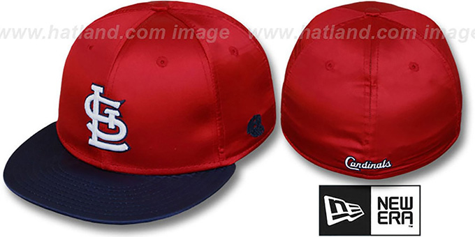 Cardinals '2T SATIN CLASSIC' Red-Navy Fitted Hat by New Era : pictured without stickers that these products are shipped with