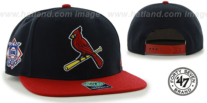 Cardinals ALT 'SURE-SHOT SNAPBACK' Navy-Red Hat by Twins 47 Brand : pictured without stickers that these products are shipped with