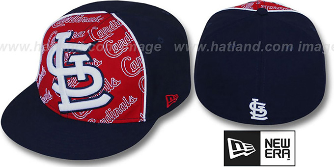 Cardinals 'ANGLEBAR' Navy-Red Fitted Hat by New Era : pictured without stickers that these products are shipped with