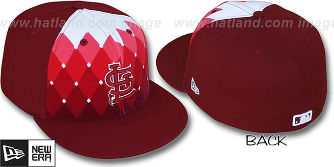 Cardinals 'ARGYLE FADE' Burgundy Fitted Hat by New Era : pictured without stickers that these products are shipped with