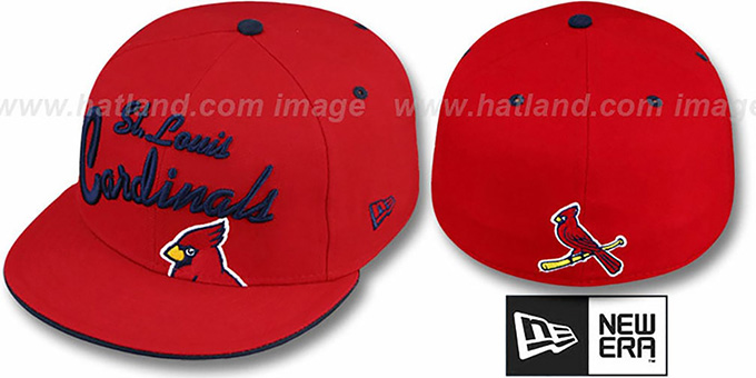 Cardinals 'BIG-SCRIPT' Red Fitted Hat by New Era : pictured without stickers that these products are shipped with
