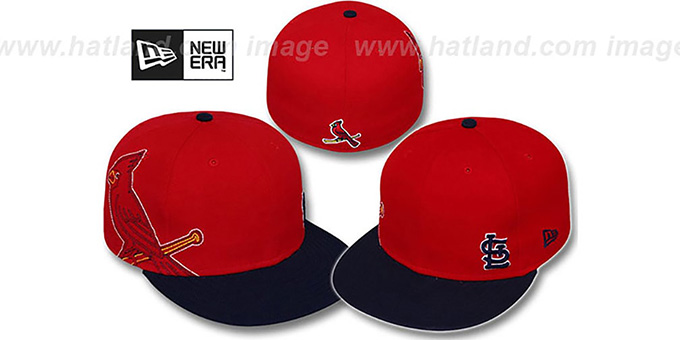 Cardinals 'BIG-STITCH' Red-Navy Fitted Hat by New Era : pictured without stickers that these products are shipped with