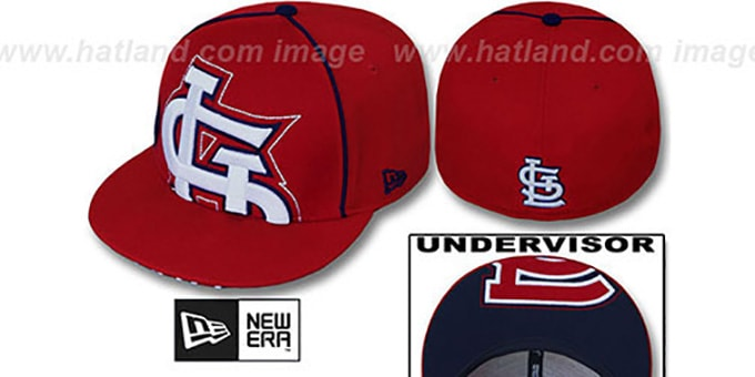 Cardinals 'BIG-UNDER' Red Fitted Hat by New Era : pictured without stickers that these products are shipped with