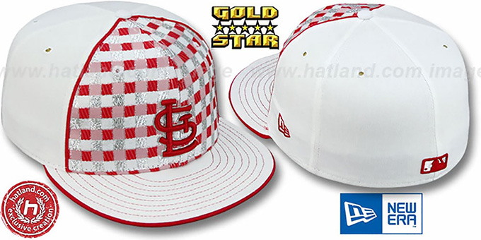 Cardinals 'CANDY CANE' Fitted Hat by New Era : pictured without stickers that these products are shipped with