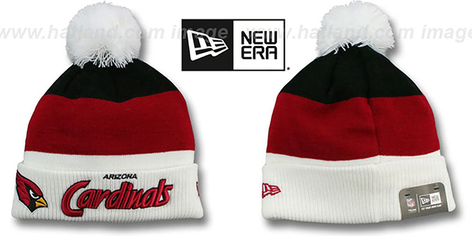 Cardinals 'CUFF-SCRIPTER' White-Burgundy-Black Knit Beanie Hat by New Era : pictured without stickers that these products are shipped with