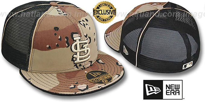 Cardinals 'DESERT STORM MESH-BACK' Fitted Hat by New Era : pictured without stickers that these products are shipped with