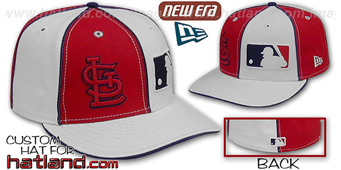 Cardinals 'DOUBLE WHAMMY' Red-White Fitted Hat : pictured without stickers that these products are shipped with