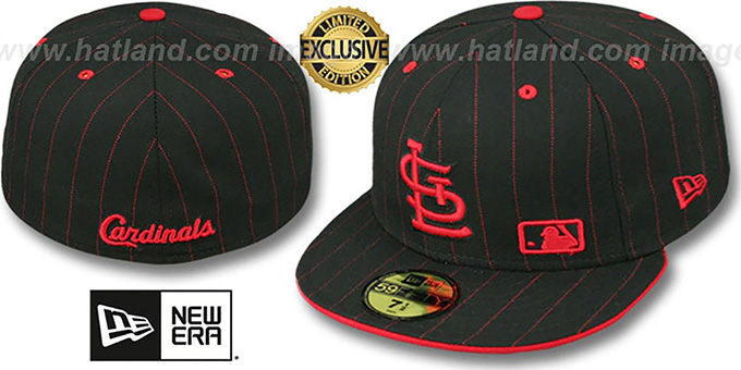 St Louis Cardinals FABULOUS Black-Red Fitted Hat by New Era 26382747353