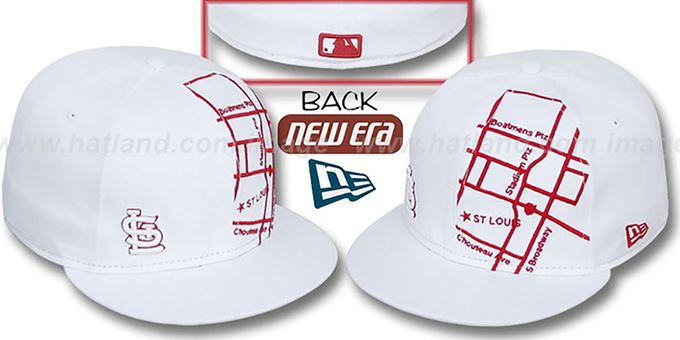 Cardinals 'GPS' White-Red Fitted Hat by New Era : pictured without stickers that these products are shipped with