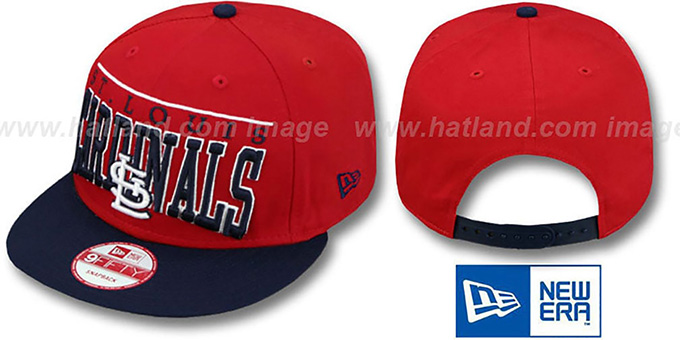 Cardinals 'LE-ARCH SNAPBACK' Red-Navy Hat by New Era : pictured without stickers that these products are shipped with