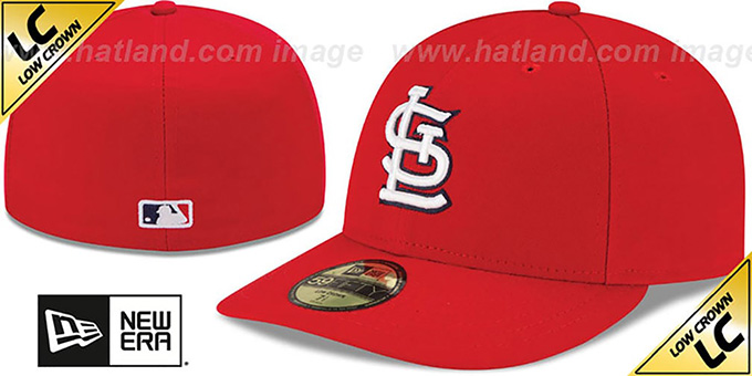 Cardinals 'LOW-CROWN' GAME Fitted Hat by New Era : pictured without stickers that these products are shipped with