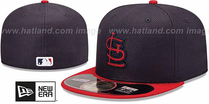 c9a19fb135781 Cardinals  MLB DIAMOND ERA  59FIFTY Navy-Red BP Hat by New Era