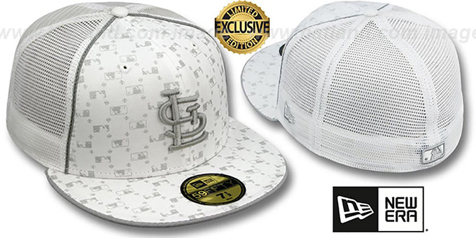Cardinals 'MLB FLOCKING' MESH-BACK White Fitted Hat by New Era : pictured without stickers that these products are shipped with