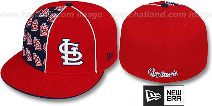 Cardinals 'MULTIPLY' Red-Navy Fitted Hat by New Era : pictured without stickers that these products are shipped with