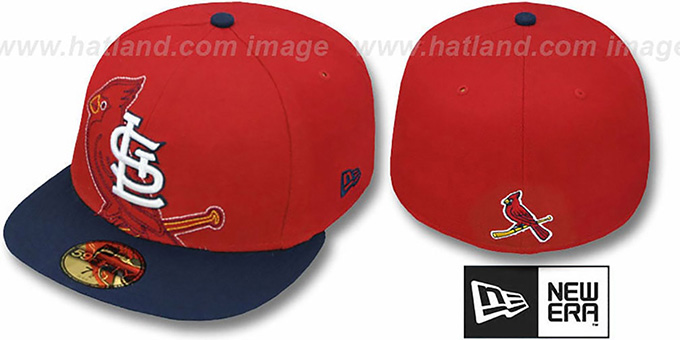 Cardinals 'NEW MIXIN' Red-Navy Fitted Hat by New Era : pictured without stickers that these products are shipped with