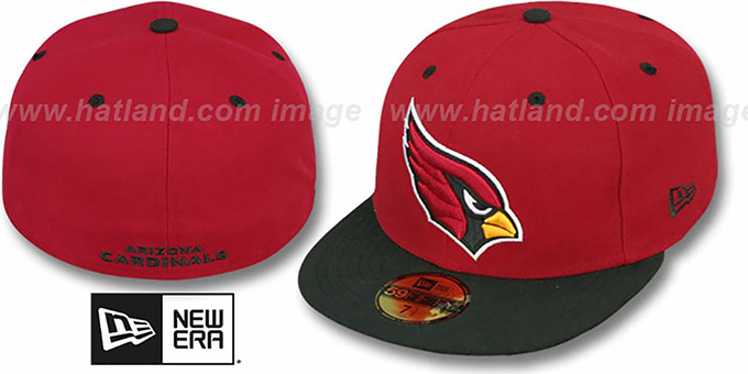 Cardinals 'NFL 2T-TEAM-BASIC' Burgundy-Black Fitted Hat by New Era : pictured without stickers that these products are shipped with