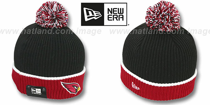 Cardinals 'NFL FIRESIDE' Black-Red Knit Beanie Hat by New Era : pictured without stickers that these products are shipped with