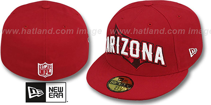 Cardinals 'NFL ONFIELD DRAFT' Burgundy Fitted Hat by New Era : pictured without stickers that these products are shipped with