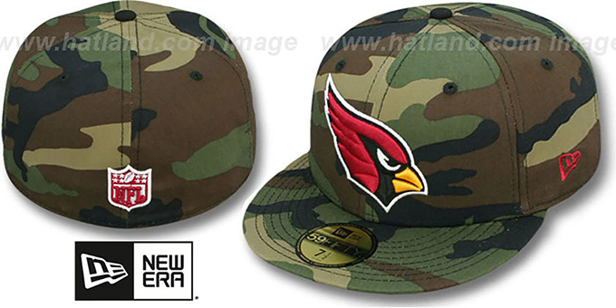 Cardinals 'NFL TEAM-BASIC' Army Camo Fitted Hat by New Era : pictured without stickers that these products are shipped with