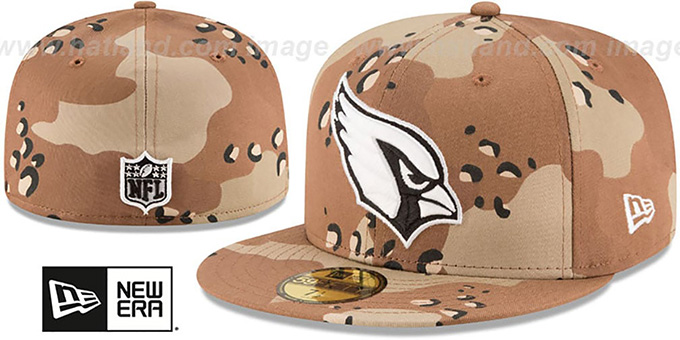 Cardinals 'NFL TEAM-BASIC' Desert Storm Camo Fitted Hat by New Era : pictured without stickers that these products are shipped with