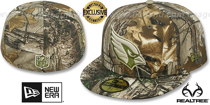 Cardinals 'NFL TEAM-BASIC' Realtree Camo Fitted Hat by New Era : pictured without stickers that these products are shipped with
