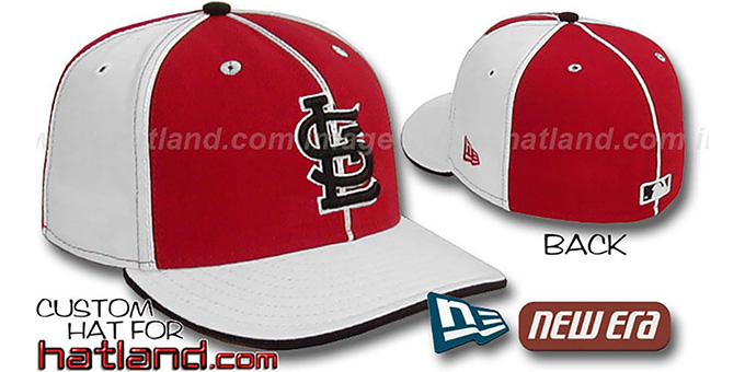 Cardinals 'PINWHEEL-3' Red-White Fitted Hat by New Era : pictured without stickers that these products are shipped with