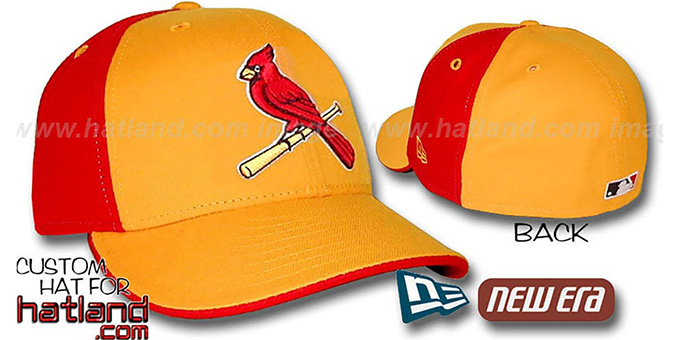 Cardinals 'PINWHEEL' Gold-Red Fitted Hat by New Era : pictured without stickers that these products are shipped with