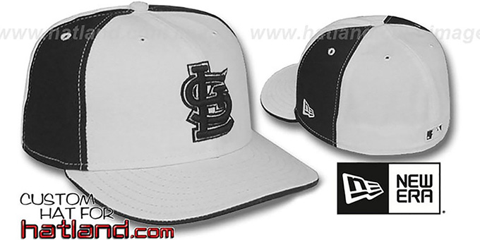 Cardinals 'PINWHEEL' White-Black Fitted Hat by New Era : pictured without stickers that these products are shipped with