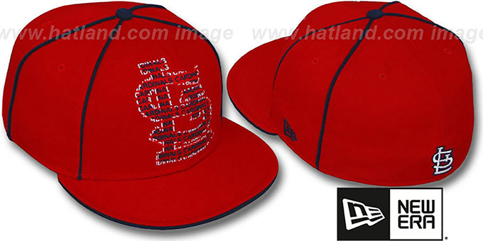 Cardinals 'REPEAT BIG-ONE' Red Fitted Hat by New Era : pictured without stickers that these products are shipped with