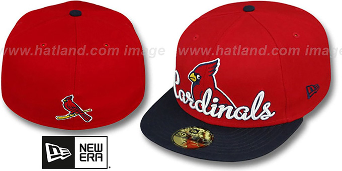 Cardinals 'SCRIPT-PUNCH' Red-Navy Fitted Hat by New Era : pictured without stickers that these products are shipped with