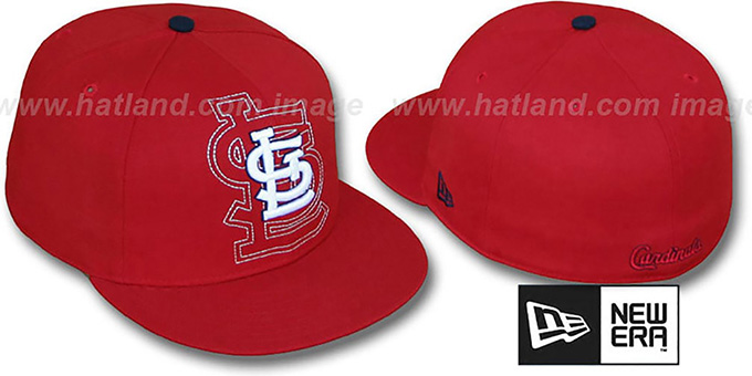 Cardinals 'SHADOW BIG-ONE' Red Fitted Hat by New Era : pictured without stickers that these products are shipped with