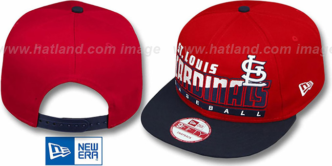 Cardinals 'SLICE-N-DICE SNAPBACK' Red-Navy Hat by New Era : pictured without stickers that these products are shipped with