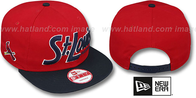 Cardinals 'SNAP-IT-BACK SNAPBACK' Red-Navy Hat by New Era : pictured without stickers that these products are shipped with