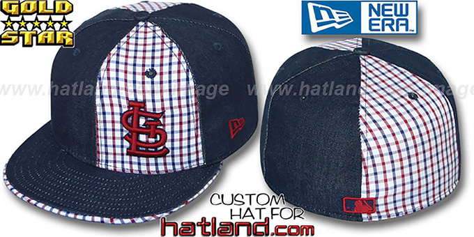 Cardinals 'SOUTHPAW SLUGGA' Plaid-Navy Denim Fitted Hat by New Era : pictured without stickers that these products are shipped with