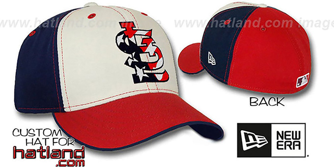 Cardinals 'STARS and STRIPES PINWHEEL' Fitted Hat by New Era : pictured without stickers that these products are shipped with