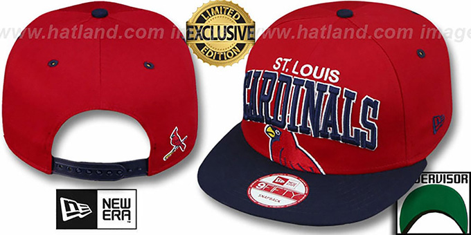 Cardinals 'SUPER-LOGO ARCH SNAPBACK' Red-Navy Hat by New Era : pictured without stickers that these products are shipped with