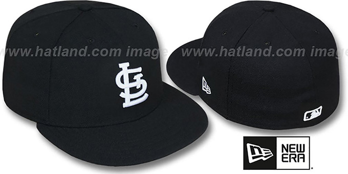 Cardinals 'TEAM-BASIC' Black-White Fitted Hat by New Era : pictured without stickers that these products are shipped with