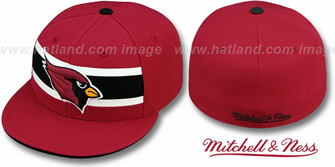 Cardinals 'THROWBACK TIMEOUT' Burgundy Fitted Hat by Mitchell & Ness : pictured without stickers that these products are shipped with