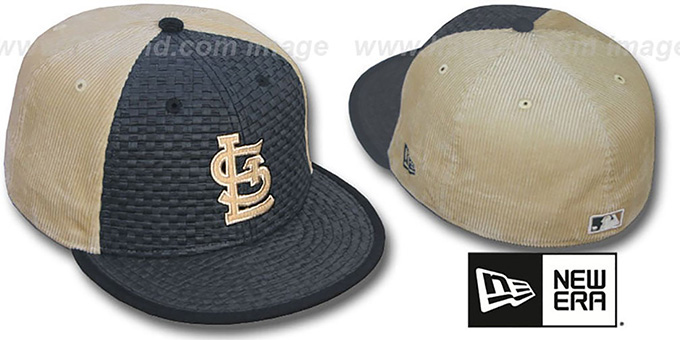 Cardinals 'WEAVE-N-CORD' Fitted Hat by New Era - black-tan : pictured without stickers that these products are shipped with