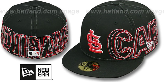 Cardinals 'WORD-WRAP' Black Fitted Hat by New Era : pictured without stickers that these products are shipped with