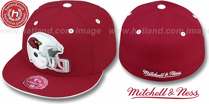 Cardinals 'XL-HELMET' Cardinal Fitted Hat by Mitchell & Ness : pictured without stickers that these products are shipped with