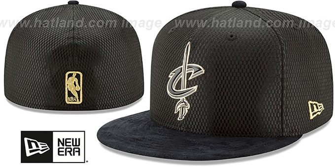 Cavaliers '2017 ONCOURT' Black-Gold Fitted Hat by New Era : pictured without stickers that these products are shipped with
