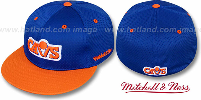 Cavaliers '2T BP-MESH' Royal-Orange Fitted Hat by Mitchell & Ness : pictured without stickers that these products are shipped with
